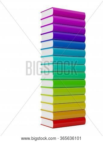 Colorful Rainbow Colored Hardcover Books Stack With Blank Covers Over White Background - 3d Illustra