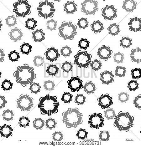 Black Lifebuoy Icon Isolated Seamless Pattern On White Background. Lifebelt Symbol. Vector Illustrat