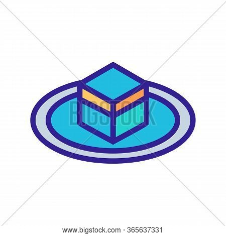 Fenced Cubic Stone Kaaba Icon Vector. Fenced Cubic Stone Kaaba Sign. Color Symbol Illustration