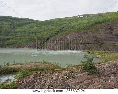 Part Of Svartisvatnet Lake Landscapes Near European Svartisen Glacier In Nordland County In Norway,