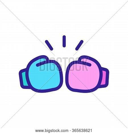 Kick Boxing Gloves Icon Vector. Kick Boxing Gloves Sign. Color Symbol Illustration