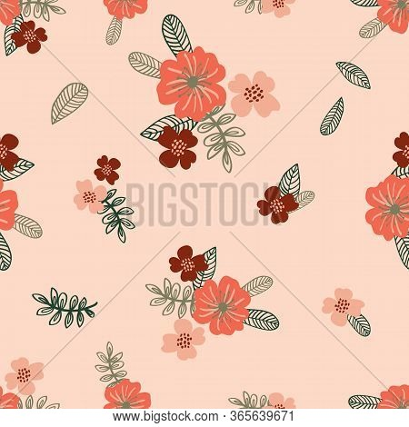 Floral Seamless Pattern With Hand Drawn Flowers. Texture With Stylized Minimalistic Branches With Gr