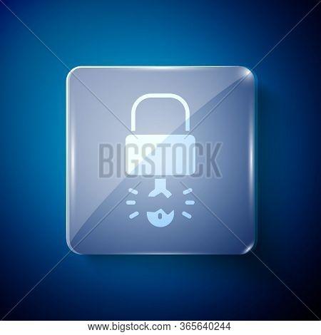 White Key Broke Inside Of Padlock Icon Isolated On Blue Background. Padlock Sign. Security, Safety,