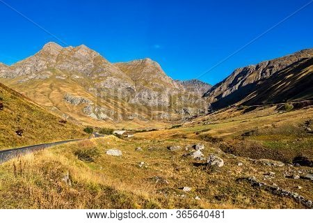 Alpine Landscape Of The French Alps, Bonneval Sur Arc In The Provence Alpes, France.