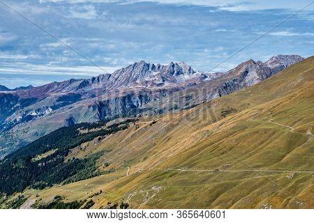 Alpine Landscape Of The French Alps Near Montvalezan In Departement Savoie In Auvergne-rhone-alpes I