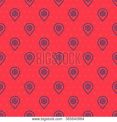 Blue Line Location With Car Service Icon Isolated Seamless Pattern On Red Background. Auto Mechanic
