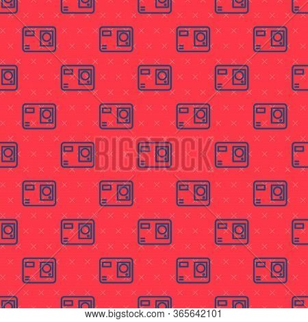 Blue Line Action Extreme Camera Icon Isolated Seamless Pattern On Red Background. Video Camera Equip