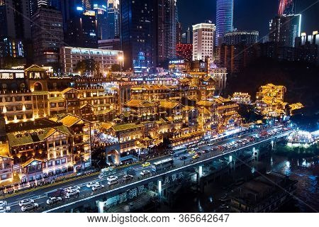 Chongqing, China - July 23, 2019: Hongya Cave, Traditional Stilted Building In Chongqing China With