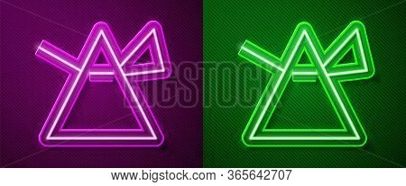 Glowing Neon Line Light Rays In Prism Icon Isolated On Purple And Green Background. Ray Rainbow Spec