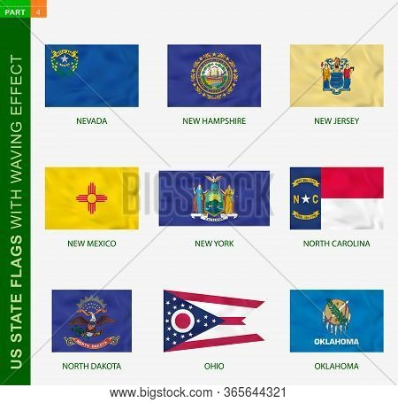 Set Of Us State Flags With Waving Effect, National Flag With Texture. Us States Vector Flag Of Nevad