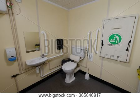 An Interior View Of A Public Bathroom And Nappy Change Facility Which Is Equipped For A Variety Of U