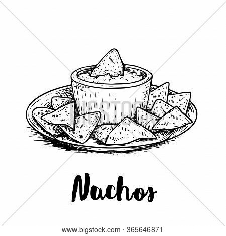 Hand Drawn Sketch Style Nachos With Guacamole Sauce On Plate. Traditional Mexican Food. Corn Chips.