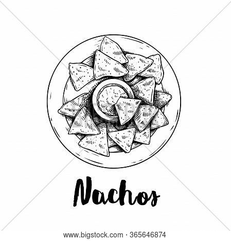 Hand Drawn Sketch Style Nachos With Guacamole Sauce On Plate. Top View. Traditional Mexican Food. Co