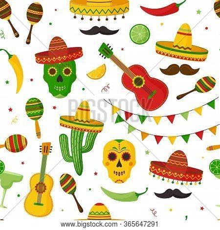 Cinco De Mayo Seamless Pattern, Celebration In Mexico. Guitar, Martini, Maraca, Peppers, Mustache, S