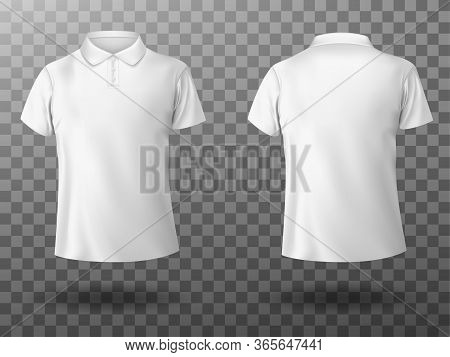 Men White Polo Shirt Front And Back View. Vector Realistic Mockup Of Male Blank T-shirt With Collar