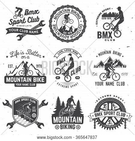 Set Of Bmx And Mtb Extreme Sport Club Badge. Vector. Concept For Shirt, Logo, Print, Stamp, Tee With