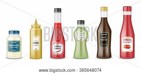 Sauce Bottles Set. Realistic Glass Bottle Containers With Ketchup, Mayonnaise, Mustard, Hot Chilli A