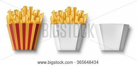 Potatoes French Fries In Paper Box, Isolated. Realistic Package Box With Fry French Potato And Empty