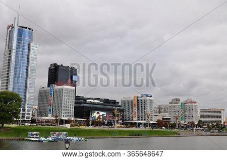 Minsk, Belarus - -august 1, 2019: View Of Pobediteley Avenue, Shopping Centers, Modern Minsk From Th