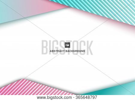 Abstract Template Geometric Triangle Blue And Pink Gradient Color Overlaping Line Pattern On White B