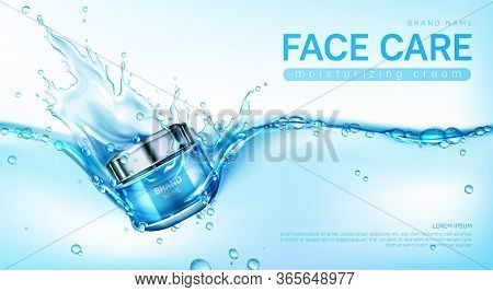 Face Cream Package In Water Splash. Vector Realistic Brand Poster With Moisturizing Skincare Gel Or