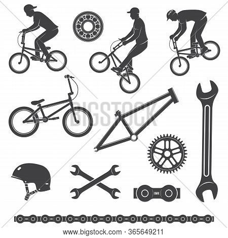 Set Of Bmx Cyclist And Bicycle Equipment Icon. Vector Illustration. Set Include Bmx Cyclist Performi