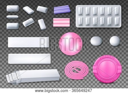 Chewing Gum Package Vector Mockups. Realistic Bubblegum Bubble, Blister Pack Of Mint Or Menthol Pads