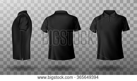 Men Black Polo Shirt Front And Back View. Vector Realistic Mockup Of Male Blank T-shirt With Collar