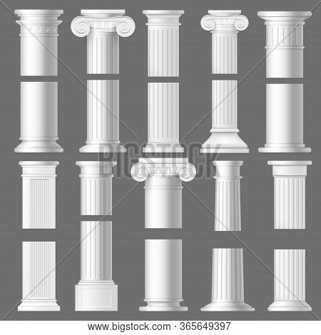 Column Pillar Realistic Mockups Of Antique Roman And Greek Architecture. 3d Vector White Marble Ston