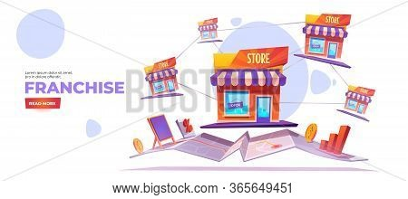 Franchise Banner. Franchising Business Branch Expansion. Small Enterprise, Company, Shop, Retail Sto