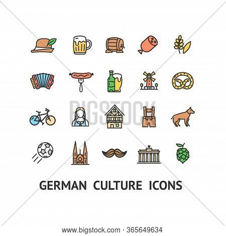 German Culture Sign Color Thin Line Icon Set Include Of Beer, Sausage And Hat. Vector Illustration O