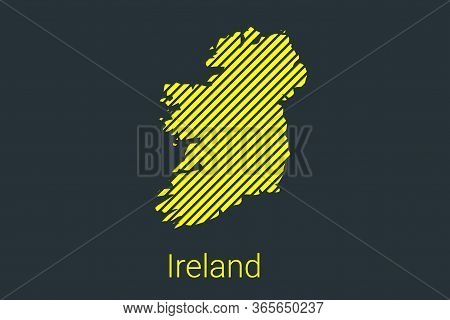 Map Of Ireland, Striped Map In A Black Strip On A Yellow Background For Coronavirus Infographics And