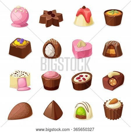 Chocolate Candies Vector Set Of Sweets And Dessert Food. Milk, Dark And White Chocolate Candy And Tr
