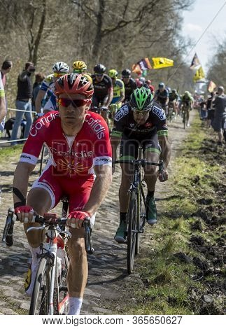 Wallers,france - April 12,2015: The Belgian Cyclist Michael Van Staeyen Of Cofidis Team Riding In Th