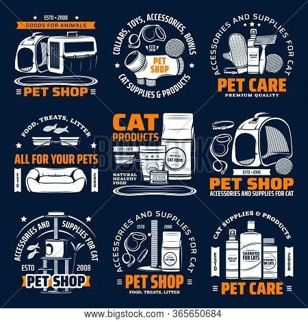 Pet Shop Supplies For Cat Animal Care Isolated Vector Icons. Cat Food, Toy And Bed, Grooming Accesso