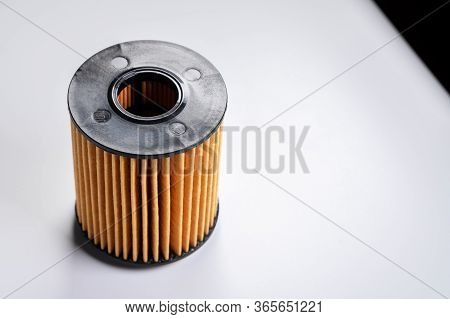 The Filter Element Of A New Oil Filter. New Spare Parts For An Internal Combustion Engine. Filter In