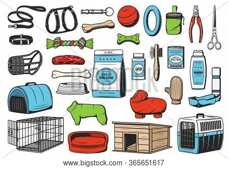 Dog Animal Care, Vector Icons Of Pet Shop. Dog Or Puppy Food, Toys And Grooming Accessories, Feeding