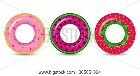 Three Lifebuoys. Swim Ring Colorful Rubber Toy Realistic Icons. Summer, Water And Beach Theme. Float