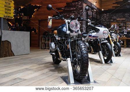 Bangkok, Thailand - May 11, 2020 : Row Of New Bmw Sport Motorbike Display At The Motorshow Showroom