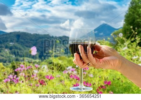 Woman Holding A Glass Of Red Wine, Flowers And Mountains In Background