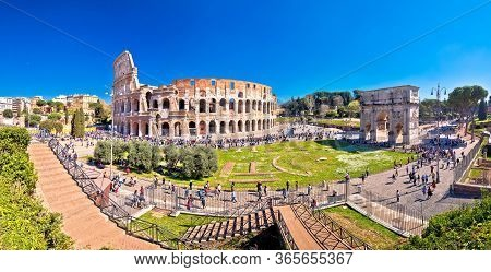 Rome. Colosseum Of Rome And Arch Of Constantine Scenic Panoramic View, Famous Landmarks Of Eternal C