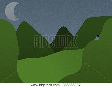 Relaxing Night View Scene Of Mountains And Valley With Moon And Human Figure Looking At The Moon Whi