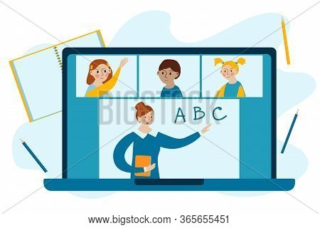 Template For Online Education And E-learning. Online Class. Stay School Learn Study From Home Via Te