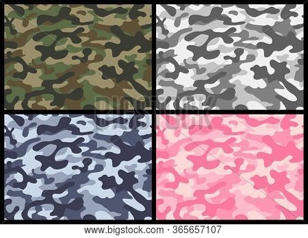Camouflage Seamless Pattern Set. Vector Illustration Repeat Print. Khaki Gray Pink Blue Green Textur