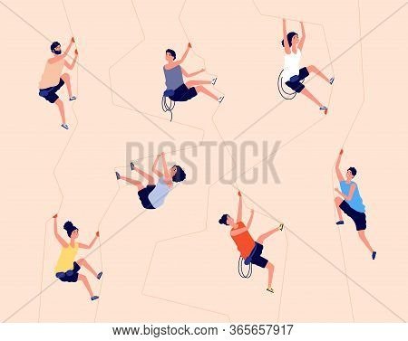 Climbing Rock. Indoor Climb Wall, Gym Extreme Recreation. Man Woman Climbers On Mountain Cliff With