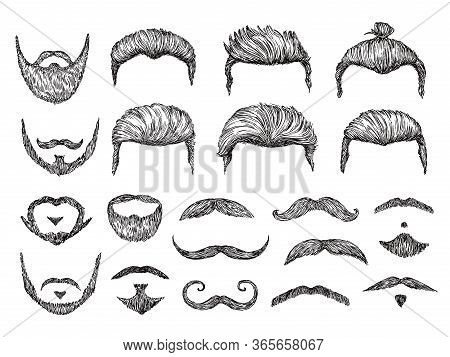 Male Hairs Sketch. Beard, Mustache Facial Elements. Hand Drawn Hipster Haircuts. Isolated Fashion Mo