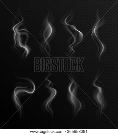 Realistic Smoke. Steam Collection Transparent Backdrop. Natural Grey Fog Of Fire, Hot Food Or Drink.