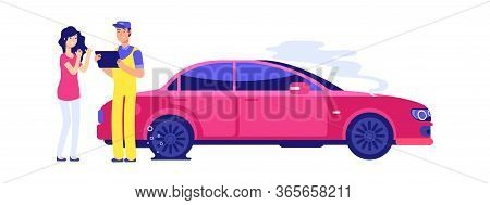 Car Insurance Accident. Woman Auto Damage. Girl Driver And Service Manager Near . Flat Tire Vector I