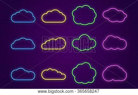 Cloud Icons. Line Neon Speech Bubbles Forms For Bar, Restaurant Or Outside Hang Banner. Glowing Colo
