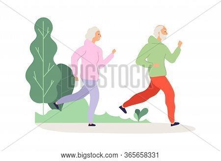 Elderly Running. Grandparents Park Workout, Happy Old People Jogging. Man Woman Activity On Nature,